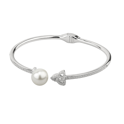 S/S CZ & PEARL TRINITY KNOT BANGLE (BOXED)