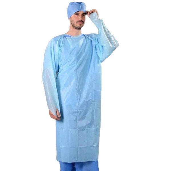 Blue CPE Isolation Gowns Fluid Resistant 117x193cm 23mu