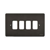 Switch Ultimate 4 Gang Flat Plate Black Nickel