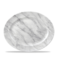 """Marble Grey Oval Rimmed 14 3/8"""" X 11 1/2"""" Carton of 6"""