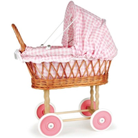Toy wicker doll's pram with pink and white gingham bedding
