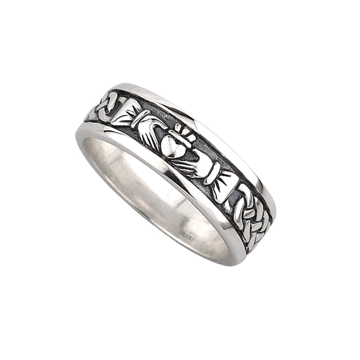 mens sterling silver oxidised claddagh ring s2828 from Solvar