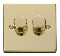 Click Deco Victorian Polished Brass 2 Gang 2 Way Dimmer  | LV0101.0179