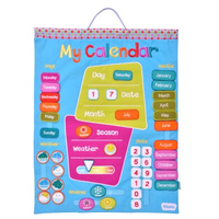 Hand-stitched fabric wall-hanging calendar for kids