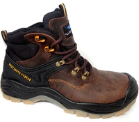 Safhir Brown Full Grain Leather Safety Boot S3
