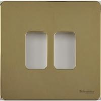 Schneider Ultimate Screwless Grid Polished Brass 2 Gang Ultimate Screwless|LV0701.1409