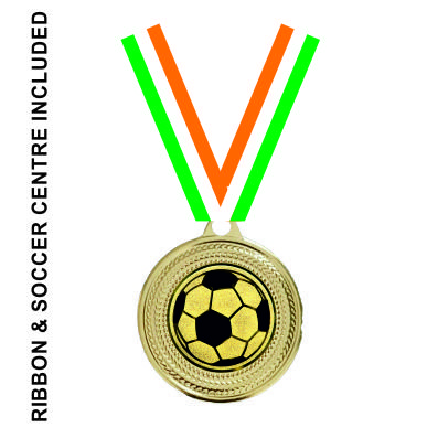 40mm Soccer Medal & TRI Ribbon (Gold)