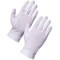 Supertouch Cotton Gloves Forchette Mens, White