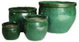 Set Of 4 Ceramic Planter Green
