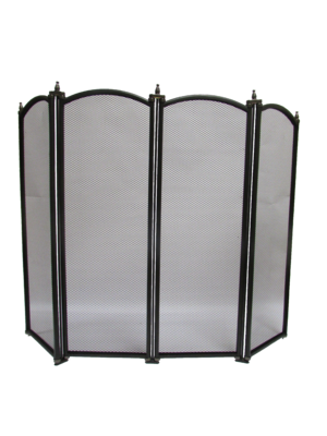 "24"" Four Fold Black Fire Screen"