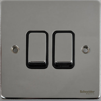 Schneider Ultimate Low Profile 2gang switch Polished Chrome with Black Insert | LV0701.0057