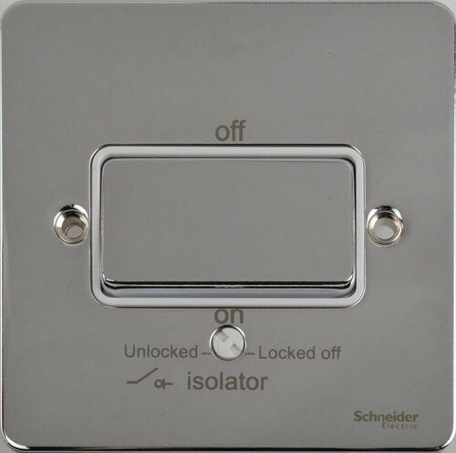 Schneider Ultimate Low Profile Fan Isolator switch Polished Chrome with White Insert | LV0701.0042