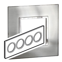 Arteor (British Standard) Plate 8 Module Round Stainless Steel | LV0501.0352