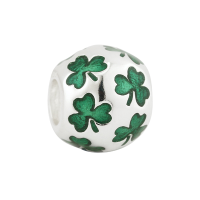 INLAYED ENAMEL SHAMROCKS BEAD