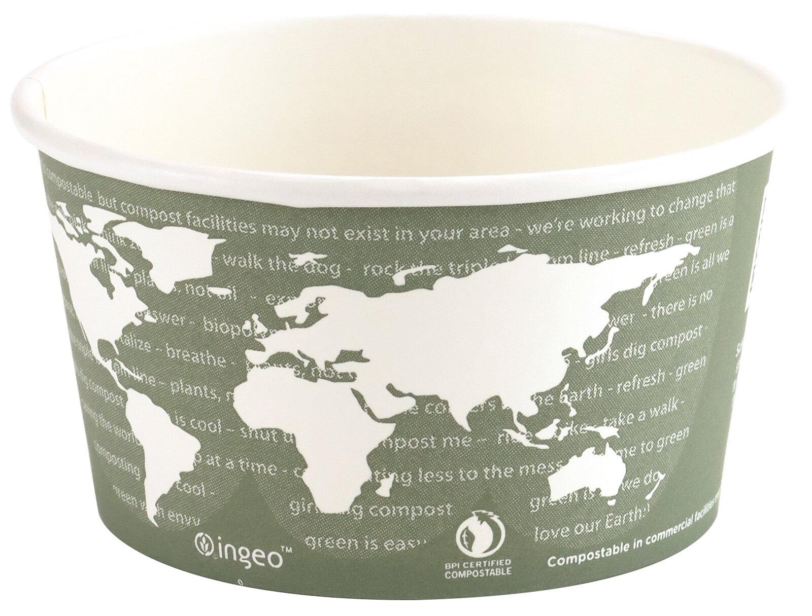 Biodregradable World Art Container & Lid 355ml (Box of 500)