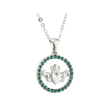 RHODIUM CRYSTAL CLADDAGH CIRCLE PENDANT