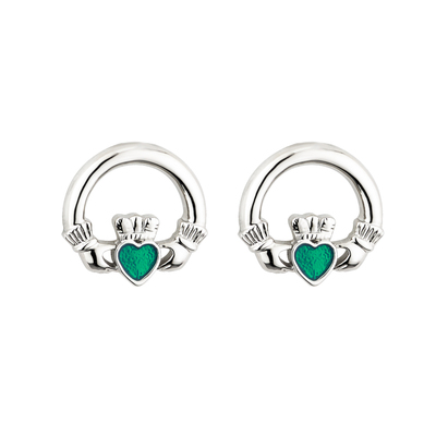 RHODIUM ENAMEL CLADDAGH STUD EARRINGS