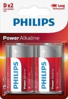 PHILIPS POWER ALKALINE BATTERY D 12X2