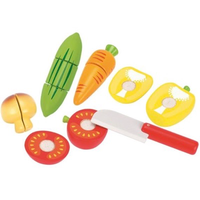 Wooden set of toy vegetables
