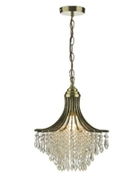 Suri 1 Light Pendant, Antique Brass Complete With Clear Beads | LV1802.0100