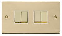 Click Deco Victorain Polished Brass with White Insert 4G 2 Way 'Ingot' Switch | LV0101.0151