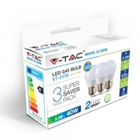 5.5W G45 Plastic Bulb E27 2700K 3 Pack