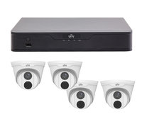 Uniview 8CH 1TB PoE 4K NVR and 4 x 4MP Eyeball Turret Cameras