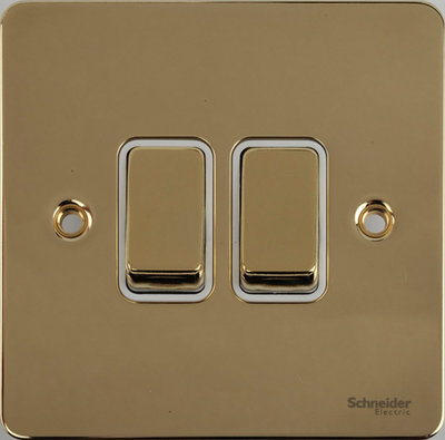 Flat Plate Polished Brass 16AX 2G 2 Way Switch WHITE | LV0701.0116