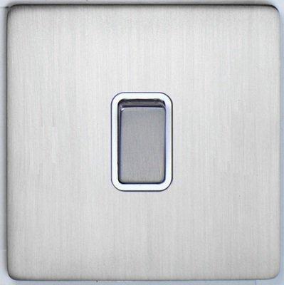 DETA Screwless Intermediate Switch Satin Chrome White   LV0201.0066