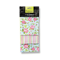 Vintage Floral 3 Pack Tea Towel
