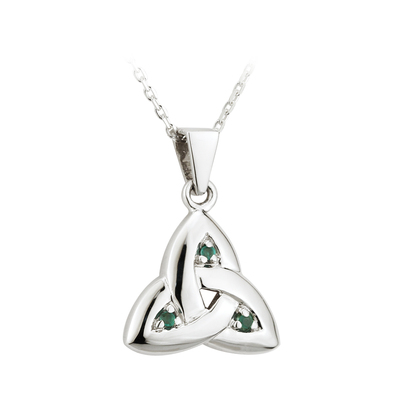 14K WHITE EMERALD TRINITY KNOT MEDIUM