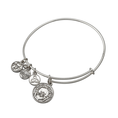 SILVER TONE CLADDAGH CHARM BANGLE