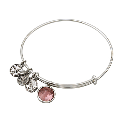 RHODIUM BIRTHSTONE CHARM BANGLE - JUNE
