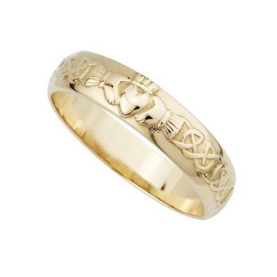14K GENTS CLADDAGH WEDDING BAND(BOXED)