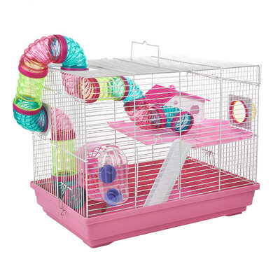 Interesting Cage for Small Animals (Hamster) - Pink x 1