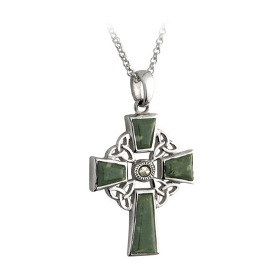 sterling silver connemara marble celtic cross pendant s44037 from Solvar