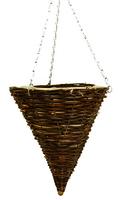 "Black Rattan Hanging Basket Cone 12"""