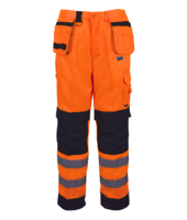 PCOMTR Builder Two-Tone Hi-Vis Trousers Orange/Black