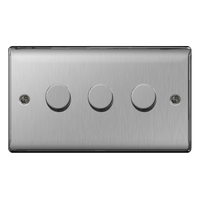 NEXUS METAL BRUSHED STEEL DIMMER SWITCH 400W 3-GANG 2-WAY