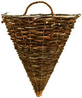 "Black Rattan Wall Basket 14"""