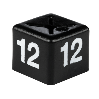 SHOPWORX CUBEX 'Size 12' Size cubes - White on Black (Pack 50)