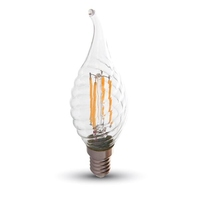 4W LED Candle Filament E14 Twist Flame 2700K