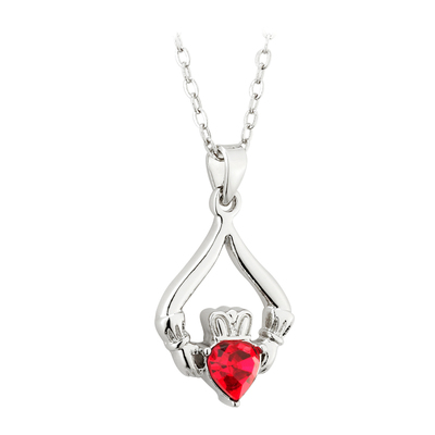 RHODIUM PLATED CLADDAGH BIRTHSTONE - JULY