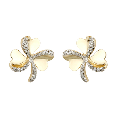 9K CZ SHAMROCK STUD EARRINGS
