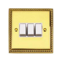 BRASS HERITAGE SWITCH 3 GANG 2 WAY