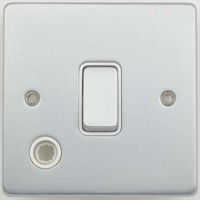 Schneider Ultimate Low Profile 20Amp Double Pole switch with flex outlet Brushed Chrome with White Insert | LV0701.0215