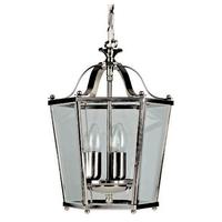 3 Light Panel Lantern Satin Nickel