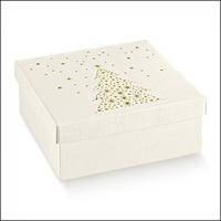 BOX & LID WH / GOLD STARS 30X30X12CM disc