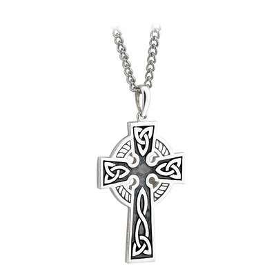 sterling silver double sided oxidised cross pendant s44764 from Solvar