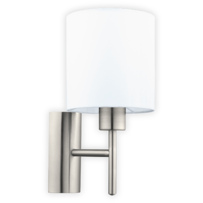 EGLO Satin Nickel and White Shade Wall Light Round IP20  | LV1902.0104